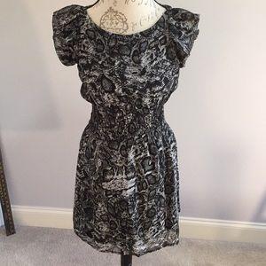 Pinky Black/Gray/Cream Snakeskin Print Dress Med